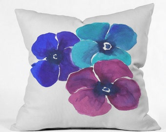 Pansie Trio Throw Pillow