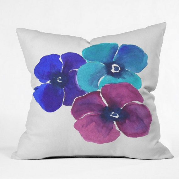 Etsy Throw Pillow Sets : Items similar to Pansie Trio Throw Pillow on Etsy
