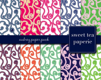 Buy2Get1Free with Code XMASINJULY! Audrey Digital Paper Pack (Instant Download)