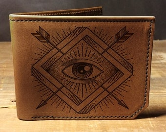 wallet, leather wallet, mens leather wallet, seeing eye wallet