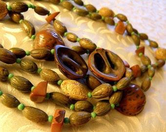 nuts and natural beads necklace