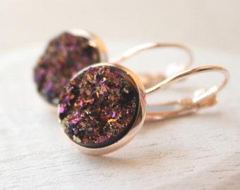 Rose Gold Druzy Earrings, rainbow shimmer, leverback or screw back clips, Drusy dangle earrings, lightweight 12mm faux drusy E274