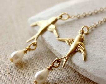 Gold Bird Earrings golden bird dangle earrings HOOKS or CLIPS long golden earrings bird jewelry perfect gift Boucle D'Oreilles E116