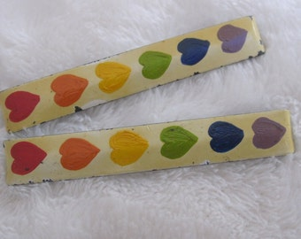 Pay it forward , vintage barrette, 1980s neon hearts PIF