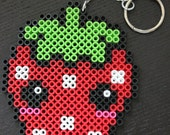 Handmade Perler Hama Bead Kawaii Strawberry Refrigerator Magnet OR Keyring - Your choice -