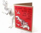 Dinosaur Card - Blank, Birthday, Greeting Card - Science Nerd Geek - Kids, Children Card - Jurassic - TRex, Stegosaurus, Watercolor Card
