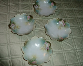 Vintage Porcelian Rose Hand painted fruit berry bowl set of 4