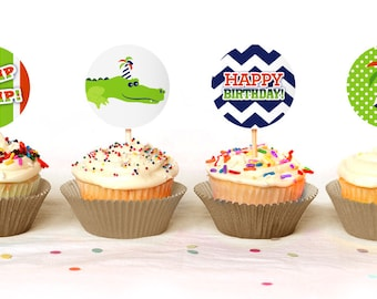 Cute Alligator themed Cupcake Toppers - Instant Download - Print Your Own - KID60_CT