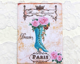 Paris Note Cards, Blank Note cards, French Vintage Boot, Birthday, Thank You, Dream, Bridal Shower, High Tea Party, Shabby Haute Couture