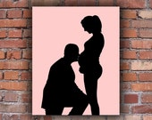 Custom Full Body Silhouette Portrait - Unframed Art Print - Pregnancy Silhouette -  New Baby Silhouette trending