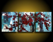 Large Asian Painting Modern Abstract painting Tree Canvas Wall Art by THE RAW CANVAS Art Artwork Big Original Painting Red Flower Painting