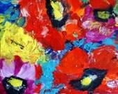 Original oil RED FLOWERS PALETTE Knife painting impressionism impasto fine art by Luiza Vizoli