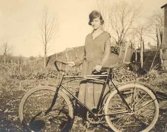 Lady with Vintage bike photo.  Digital Download, Ephemera, Sepia, flapper, brown,  bicycle, girl, woman, photograph, ride, transport