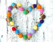 Needle Felted Acorns, Waldorf Inspired, Rustic Nature Natural Hostess decorations Home Decor Rainbow Heart - 10