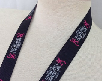 Black and Pink Everyone Loves A Country Girl Ribbon Lanyard
