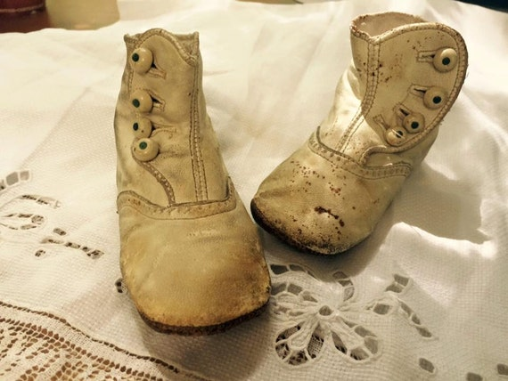 Vintage Edwardian BABY SHOES white by Pickersistersyorktwn