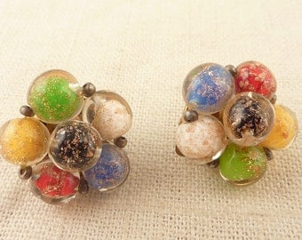 Antique Venetian Multi Colored Foil Glass Bead Cluster Clip On Earrings