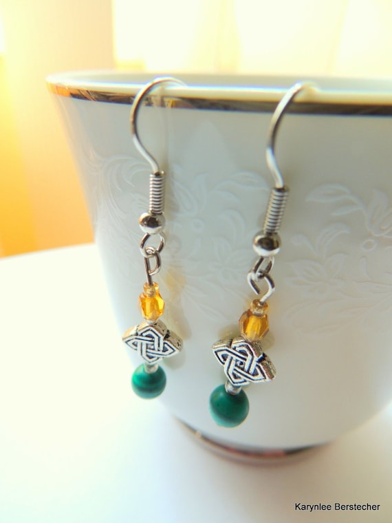 Malachite and Amber Earrings, Celtic Earrings, Gemstone Jewelry, Handcrafted Jewelry, Green and Amber, Celtic Knot, Dangle Earrings