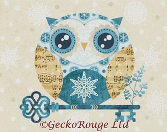 Blue Owl Cross Stitch Kit By Sandra Vargas Buho Winter Owl  - Key with snowflakes made by GeckoRouge