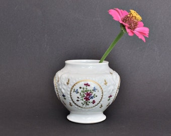 Small Haviland Limoges Jar or Vase with Pink and Blue Flowers