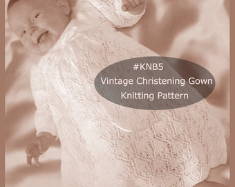 Christening Gown Baptism Dress Knitting Pattern Lacy Dress Pattern To Knit #KNB5 Instant Download-A Shipped Copy Is Available-Inquire