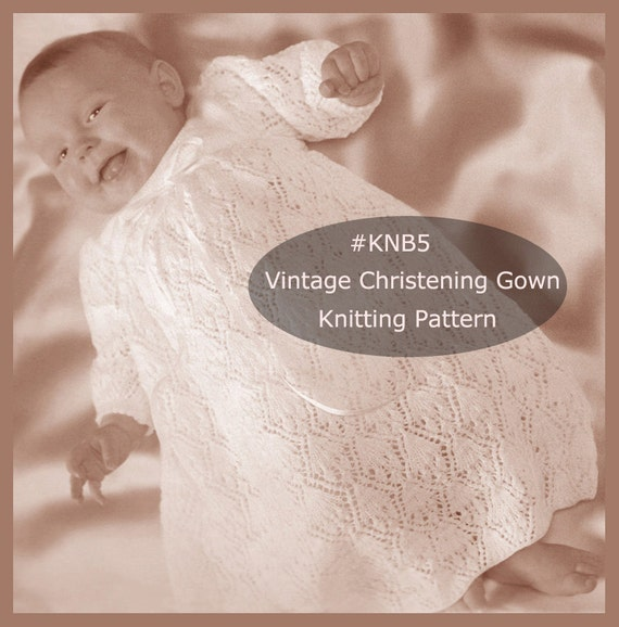 Christening Gown Baptism Dress Knitting Pattern Lacy Dress