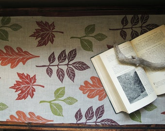 Autumn leaves woodland home decor hand block printed natural gray brown linen table runner