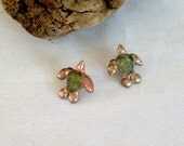 Handmade Baby Turtle Earrings,  Post Earrings, Loggerhead, Turtle, Sea Turtle, Beachy, Boho, Czech Glass, Trilobite