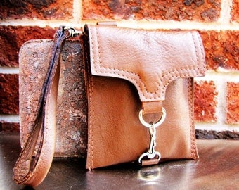 Small leather wristlet, dark tan leather case, small leather case, custom to fit iPhone 6 or 7