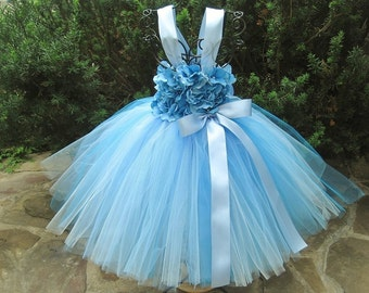 BLUE FLOWERS. Blue Tutu Dress.  Birthday Tutu Dress.  Flower Girl Gown.  Photo Shoot Tutu Dress. Girl Tutu Dress.  Pale Blue Tutu Dress.