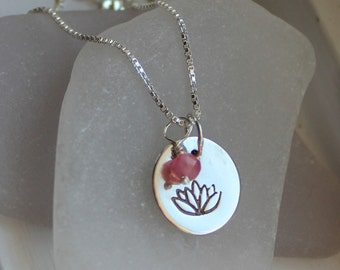 Lotus Flower Sterling Silver Charm Necklace with Ruby Stone