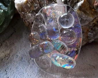 Fused Dichroic One Of A Kind Glass Pendant Futura Series FS278X5 - FREE shipping in the USA