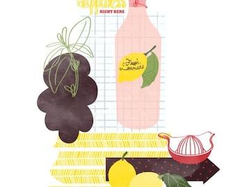 Kitchen art print - Fresh Lemonade Art - Digital illustration, kitchen decor, Food Art Print, Modern Home Decor, housewarming gift
