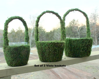 6 Large Moss handle baskets-1 small Vista flower girl baskets-PRESERVED moss-REAL moss-Clerance