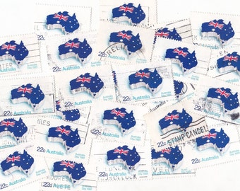 25 x Vintage Australia Map / Flag Postage Stamps for Crafting 1981
