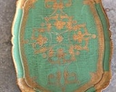 Turquoise and Gold Italian Florentine Tray