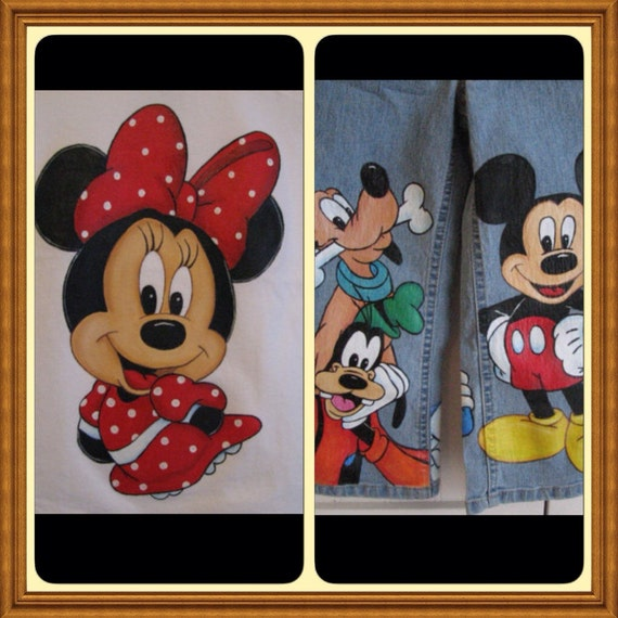 Custom Disney clothing Minnie, Mickey  WITH 6 LARGE Size Characters Painted  jeans/shirt set Sz 18m  to 24 m, 2 to size 10 teen