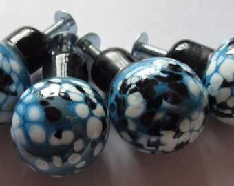 Four Handmade Dark Turquoise with Black/White Frit Handmade Lampwork Door/Draw Knobs