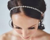 Crystal Bridal Headband | Wedding Hair Band | Rhinestone Bridal Hairband [Cleo Headband: Silver]