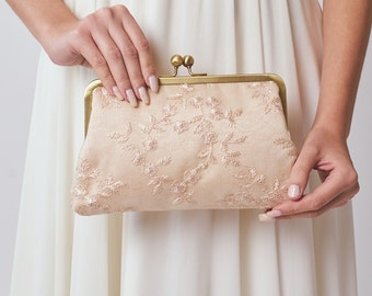 Bridesmaid Clutch | Blush Wedding Purse | Bridal Clutch | Blush Pink Lace Clutch [Antoinette Clutch: Seashell on Champagne]
