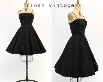 50s Rhinestone Cotton Pique Dress XS / 1950s Vintage Dress Full Skirt Dress / Pennies From Heaven Dress