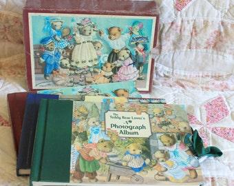 Vintage baby photograph album set,teddy bear illustrations by Doreen Edmond,teddy bear lovers photograph album set,baby photo album,teddies