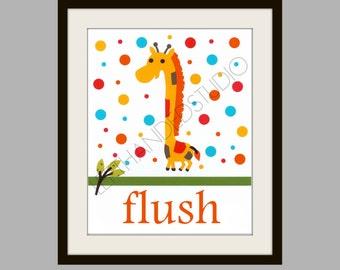 FREE SHIPPING- Giraffe Art Print, Children's Art Print, Kohl's Jumping Bean Safari Bath Art Print, 8x10, Personalized