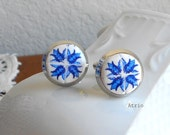 Portugal Blue Antique Azulejo Tile Replica Cuff Links Cufflinks with Gift Box.  GREAT GIFT (see actual Facade photos)