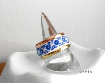 Portugal Antique Azulejo Tile STAINLESs StEEL Ring - TwO ToNED- from Porto -Igreja Sao Nicolau 1671 - US size 9, UK size S, 19mm