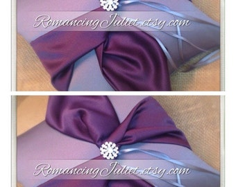 Knottie Ring Bearer Pillow with Rhinestone Accent...You Choose the Colors....SET OF 2..shown in pewter gray/eggplant purple