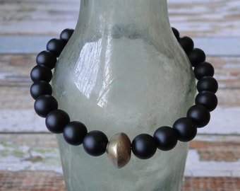 MEN'S MATTE ONYX with Brass Bead, yoga, mala, boho, tribal