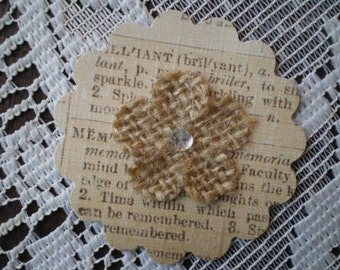 Paper Punched Dictionary Flowers with a Burlap Rhinestone Centered Flower (5)