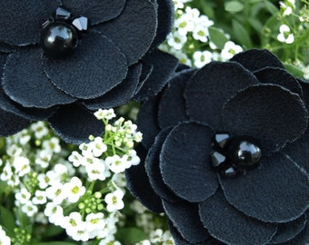 Black Colored Flower Hair Pins - Brooches  - Shoe Clips Set of 2