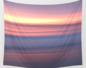 Pastel sunrise tapestry, beach wall hanging, peaceful scene tapestry, mauve fabric decor, sunset tapestry, peaceful wall art, beach scene